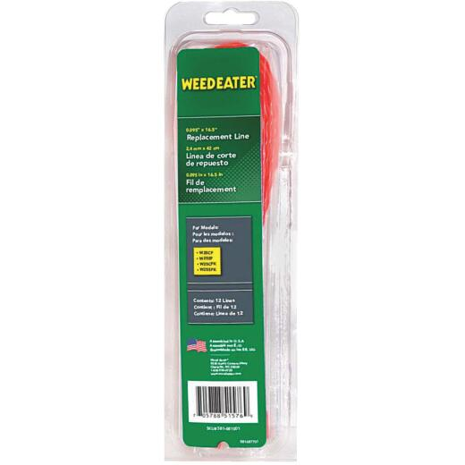 Weedeater 0.095 In. Dia. x 16.5 In. L. Round Pre-Cut Trimmer Line (12-Piece)